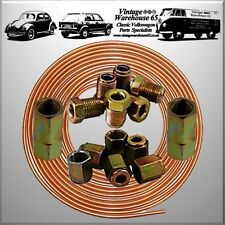 "Renault Espace 25ft 3/16"" Copper Brake Pipe Male Female Nuts Joiner Tube Kit"