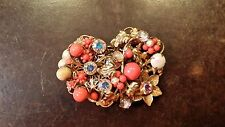 VINTAGE ORIGIANL BY ROBERT ORANGE RHINESTONE DESIGNER PIN FREE SHIPPING