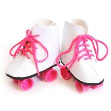 """White Roller Skates w Pink Laces Shoes made for 18"""" American Girl Doll Clothes"""
