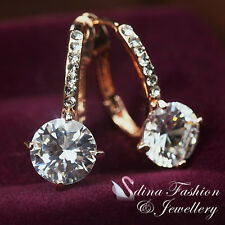 18CT Rose Gold Plated Simulated Diamonds 2.0 Ct Round Cut Hoop Earrings