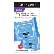 New ! 125PK Neutrogena Makeup Remover Cleansing Towelettes Pre-Moistened Wipes