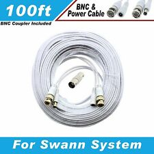 New High Quality White 100FT BNC CABLES For 16 CH SWANN D1 DVR SYSTEMS