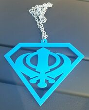 Superman Blue Acrylic Khanda Punjabi Sikh Pendant Car Rear Mirror Hanging Chain