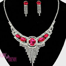 DRAMATIC PINK & CLEAR  CRYSTAL PROM WEDDING FORMAL NECKLACE JEWELRY SET TRENDY