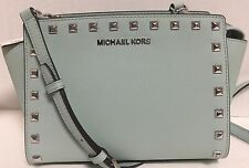 NEW Michael Kors Medium Selma Studs Celedon Saffiano Leather Crossbody Handbag