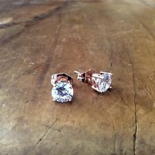 18k rose gold filled genuine white topaz crystal stud earrings + gift box