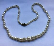 Vtg Salt Water Akoya Cultured Pearl Graduated Necklace Knotted 14k Gold Clasp