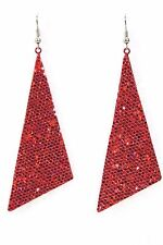 "Glitter triangle dangle drop earrings big 2.5"" red holiday sparkle cheer dance"