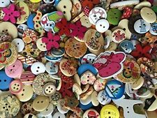 50g Randomly mixed wooden Craft Sewing buttons 11mm - 40mm