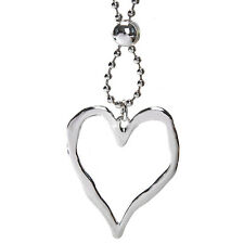 Lagenlook silver large heart style pendant 96 cm long length bead chain necklace