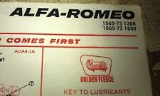 1969 - 1973 ALFA ROMEO 1300 1600 - GOLDEN FLEECE Australia LUBE Chart