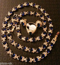 Set51 Sim sapphires + diamonds gold gf necklace bracelet ring earrings BOXED