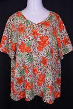 Liz & Me 3X 26/28 Orange Tan Tropical Floral Animal Stretch Knit V-Neck Tee Top