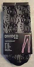H & M Divided Tights Flower Rose Fishnets Stockings Black Size M/L NEW