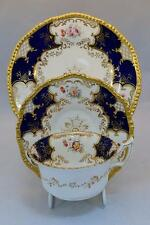 Lovely Antique Coalport Cobalt Blue Batwing Trio Cup, Saucer & Plate Handpainted