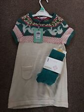 John Lewis Girls Knitted Dress And Teal Tights Age 2
