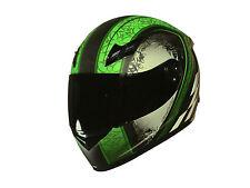 Integralhelm Motorradhelm Helm matt schwarz grün XS S M L XL XXL, 2 Visiere