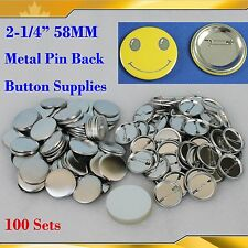 "DIY  2-1/4"" 58mm 100Sets Pin Badge Button Parts Supplies for Pro Button maker"