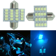2x Ice Blue Interior Festoon LED Dome Light 16 SMD 1210 Globe 31mm Super Bright