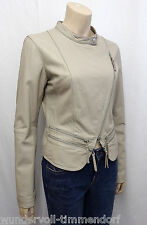 479€ NEU SUGAR STATION Designer Lederjacke Gr.L Leder Jacke Jacket Beige 3618
