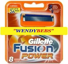 8 GENUINE GILLETTE FUSION POWER SHAVING RAZOR CARTRIDGES BLADES FREE SHIPPING =.