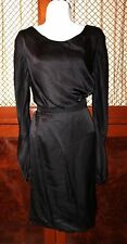 NINA RICCI Black Dress 100 % Silk size 4  US LBD