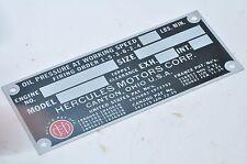 Hercules RXC, HXD, JXD ETC ENGINE Dataplate WW2