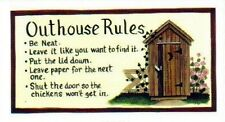 """4.5x10"""" Country Wood  OUTHOUSE RULES Primitive Bath Bathroom Wall Decor  Sign"""