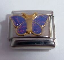 PURPLE BUTTERFLY Italian Charm - GLITTER WINGS 9mm fits Classic Starter Bracelet
