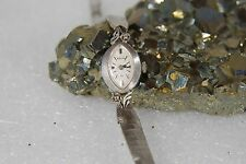 LADY'S VINTAGE ANTIQUE 14K WHITE GOLD DIAMOND BULOVA WIND UP WATCH 31262  RUNS