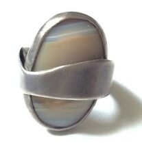 Large Modernist Sterling Silver & Lacy Agate Ring