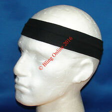 3 x BLACK 7cm FABRIC HEADBANDS HAIR HEAD BAND FOOTBALL SPORTS MENS GIRLS UNISEX