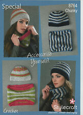LADIES EASY STITCH CROCHET HAT AND COWL PATTERN, IN STYLECRAFT SPECIAL CHUNKY