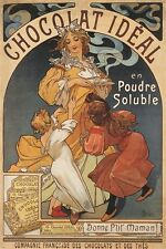 chocolate ideal hot chocolate VINTAGE AD POSTER alphonse-marie mucha 24X36