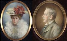 Antique Fine Miniature Portrait Painting Pair of Husband & Wife Man Lady Signed