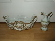 LIMOGES PORCELAIN OVAL BOWL & SMALL JUG BIRD HAND PAINTED FINI MAIN DUBARRY