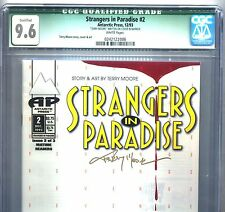 PRIMO:  STRANGERS in PARADISE #2 NM+ 9.6 CGC 1st print SIGNED Moore Antarctic