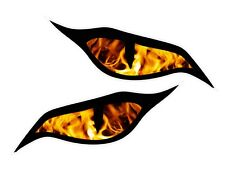 Pair Evil Eyes Eye Flames Tru Fire vinyl car motorbike helmet sticker 70x30mm ea