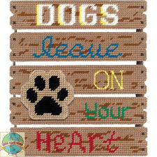 Plastic Canvas Kit ~ Janlynn Dogs Leave Pawprints Pallet Wall Hanging #021-1855