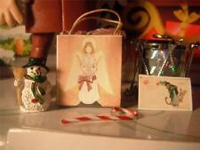 Holiday Christmas Card Bag Snowman Drum Candy Cane for Loving Family Dollhouse