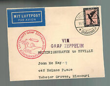 1930 Germany Graf Zeppelin LZ 127 Cover St Joseph Missouri USA South America Flt