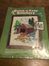 "8""X10"" VINTAGE STONEY CREEK BRIDGE #511 QUICK 'n EASY STITCHERY BY THE KIT BIT"
