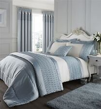 RUFFLED WAVE EMBROIDERED DUCK EGG BLUE KING SIZE DUVET COMFORTER COVER