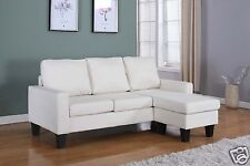 LT BEIGE Fabric Sectional Sofa REVERSIBLE Chaise Lounge Living Room Modern Couch