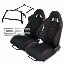 RECLINABLE RED STITCH BLACK CLOTH/CANVAS RACING BUCKET SEATS+CIVIC SEAT BRACKET