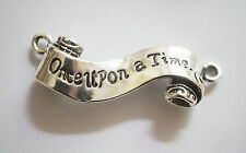 "1 Metal Antique Silver "" Once upon a Time"" Scroll Charm/Connector - 45mm"