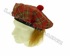 SCOTTISH SCOTS FANCY DRESS GINGER TARTAN RED HAT WITH HAIR WIG TAM O SHANTER