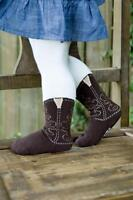 ORIGINAL BOOTZIES!! BROWN COWBOY BOOT TIGHTS FOR YOUR LITTLE COWGIRL SZ 2T-4T