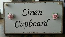 Vintage Chic Linen Cupboard wooden  door plaque sign