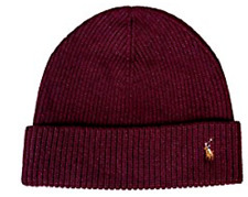 $93 POLO RALPH LAUREN Men PURPLE CUFFED WOOL HAT PONY CAP WINTER BEANIE ONE SIZE